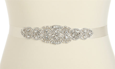 Luxurious Crystal and Pearl Applique Bridal Belts or Sash - Ivory - Marry Me Wedding Accessories & Gifts - 1