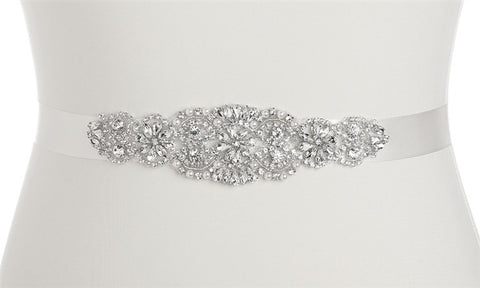 Luxurious Crystal and Pearl Applique Bridal Belts or Sash - White - Marry Me Wedding Accessories & Gifts - 1