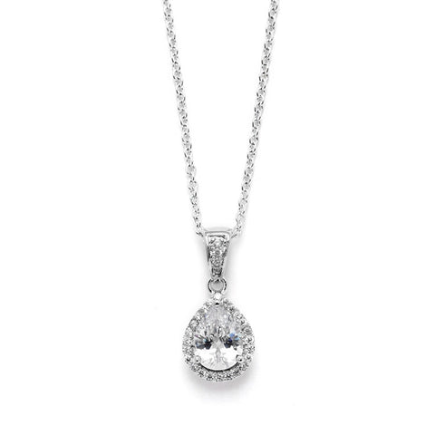 1.0 Ct CZ Pear-Shape Solitaire Pendant with Pave Frame - Marry Me Wedding Accessories & Gifts