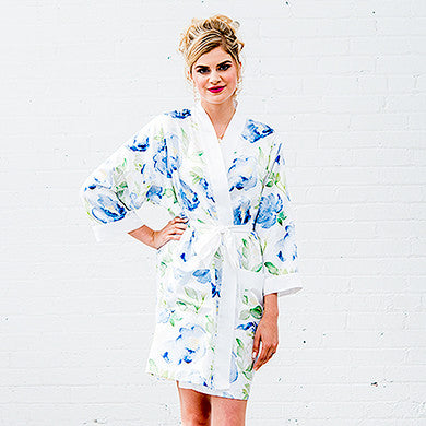 Watercolor Floral Silky Kimono Robe - Small / Medium, L/XL - Marry Me Wedding Accessories & Gifts - 10