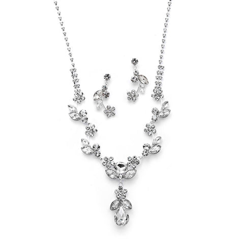 Rhinestone Crystal Vine Necklace and Earrings Set - Marry Me Wedding Accessories & Gifts