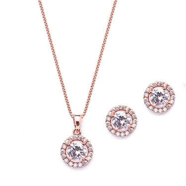 Gleaming Cubic Zirconia Round Shape Halo Gold Necklace and Stud Earrings Set - Marry Me Wedding Accessories & Gifts