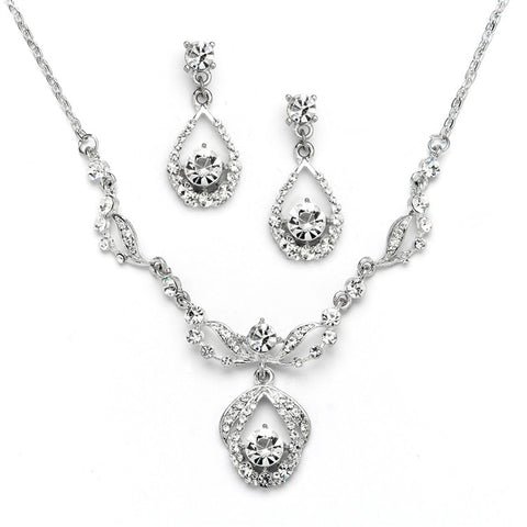 Vintage Crystal Necklace and Earrings Set - Antique Silver Plating - Marry Me Wedding Accessories & Gifts - 1