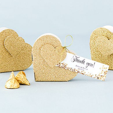 Gold Glitter Heart Favor Box - Marry Me Wedding Accessories & Gifts