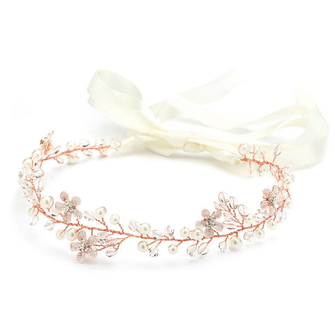 Designer Handmade Bridal Headband with Dainty Floral Vines - Rose Gold or Silver