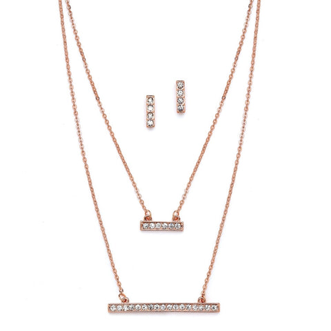 Rose Gold Double Bar Fashion Necklace - Marry Me Wedding Accessories & Gifts