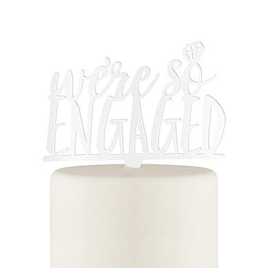 We're So Engaged Acrylic Cake Topper - White or Black