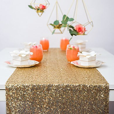 Glitzy Gold Sequin Table Runner - Marry Me Wedding Accessories & Gifts