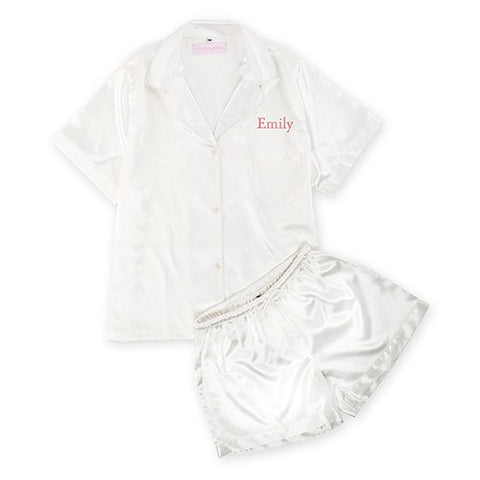 White Silky Pajama Shortie Set - Marry Me Wedding Accessories & Gifts
