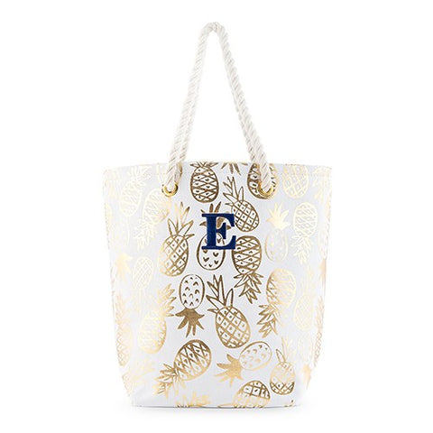 Gold Pineapple Print Canvas Tote Bag