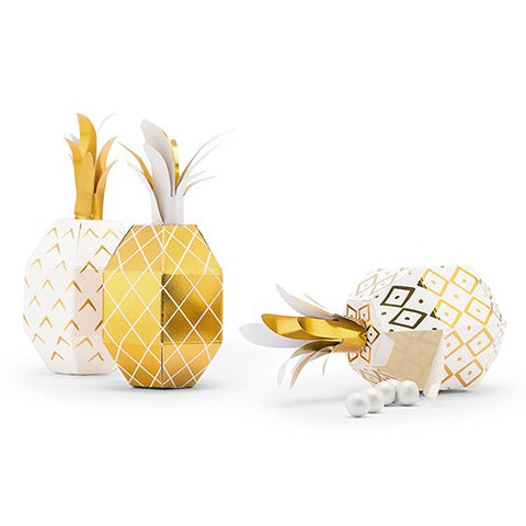 Tropical Pineapple Party Favor Boxes - Set of 24