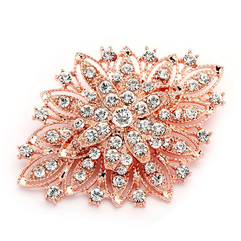 Best Selling Rose Gold Vintage Floral Bridal Brooch - Marry Me Wedding Accessories & Gifts