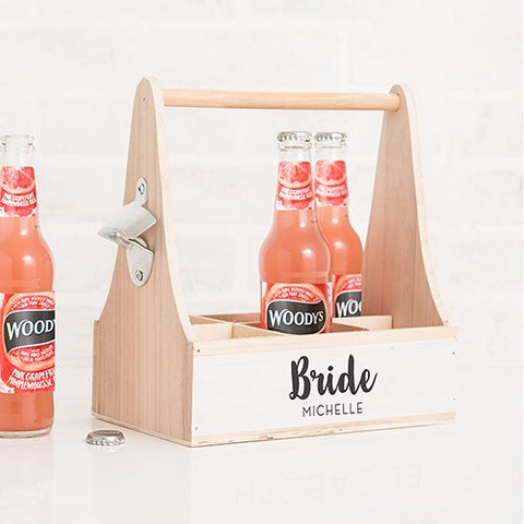 Wooden Bottle Caddy With Opener - Bride or Bridesmaid