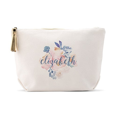 Personalized Canvas Makeup And Toiletry Bag For Women - Floral Garden Party - Marry Me Wedding Accessories & Gifts