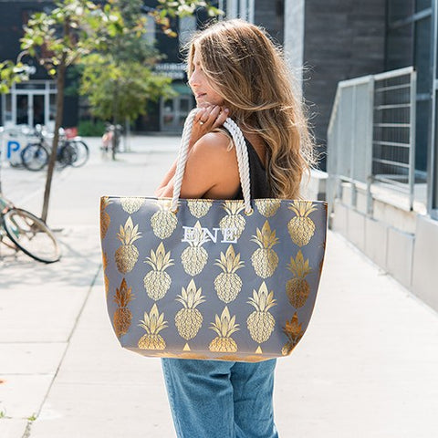 Large Personalized Cotton Canvas Fabric Beach Tote Bag - Gold Pineapple - Marry Me Wedding Accessories & Gifts