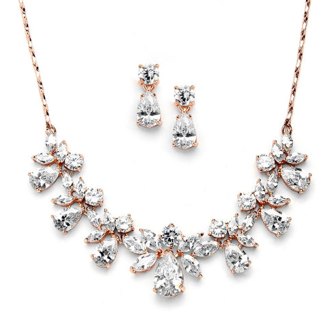 Multi Pear Shaped CZ Necklace Set with in Rose Gold with Delicate Chain - Marry Me Wedding Accessories & Gifts - 1