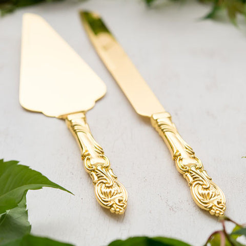Cake Serving Set - Classic Gold Romance - Marry Me Wedding Accessories & Gifts