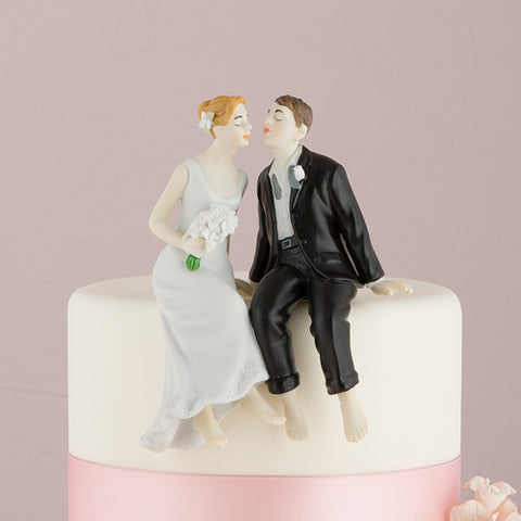 Whimsical Sitting Bride and Groom Cake Topper - Marry Me Wedding Accessories & Gifts - 1