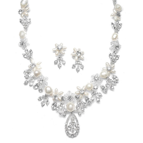 Freshwater Pearl Cluster Bridal Necklace Set - Marry Me Wedding Accessories & Gifts