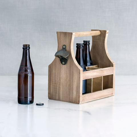 Wood Bottle Caddy with Opener - Marry Me Wedding Accessories & Gifts
