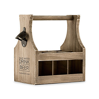 Wood Beer Bottle Caddy With Opener with Design - Marry Me Wedding Accessories & Gifts