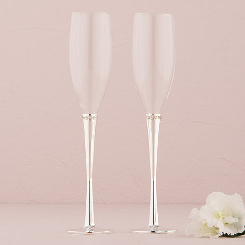 Crystal Ring Wedding Champagne Flutes - Marry Me Wedding Accessories & Gifts