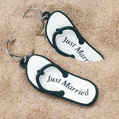 "Mini Flip Flop ""Just Married"" Key Chains - Marry Me Wedding Accessories & Gifts"