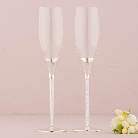 Crystal Stones in Stem Wedding Champagne Flutes - Marry Me Wedding Accessories & Gifts
