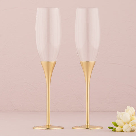 Silver or Gold Wedding Champagne Flutes Venice Design - Marry Me Wedding Accessories & Gifts - 2