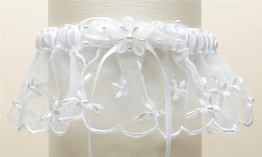 Embroidered Wedding Garters with Rice Pearl Accents - White - Marry Me Wedding Accessories & Gifts