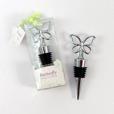 Silver Butterfly Wine Bottle Stopper Gift Boxed