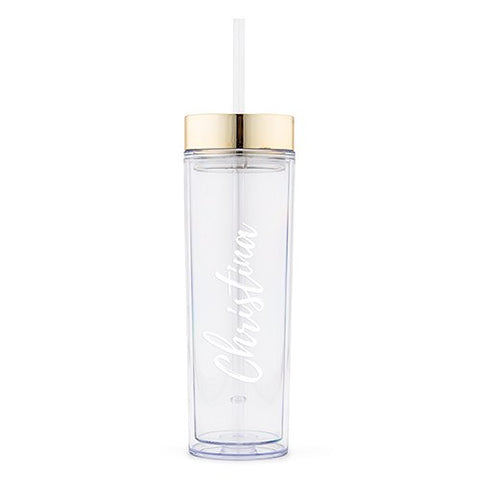 Personalized Plastic Drink Tumbler - Calligraphy Text Printing - Marry Me Wedding Accessories & Gifts