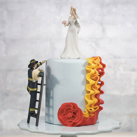 """To the Rescue!"" Fireman Groom Figurine - Marry Me Wedding Accessories & Gifts"