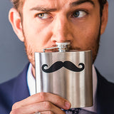 Mustache Stainless Steel Flask - Marry Me Wedding Accessories & Gifts - 1