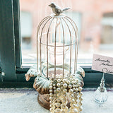 Small Metal Birdcage with Suspended Tealight Holder White - Marry Me Wedding Accessories & Gifts - 2