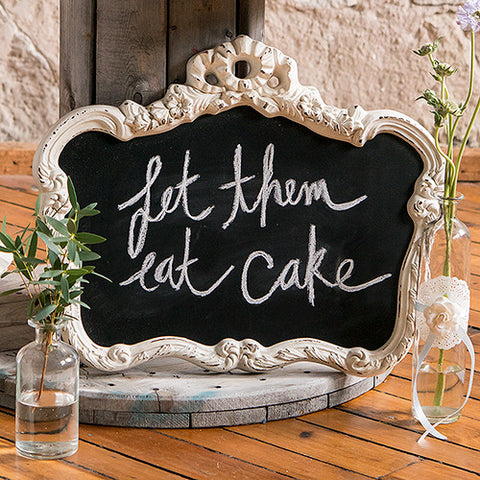 Blackboard in Ornate Vintage Frame in Antique White or Daiquiri Green - Marry Me Wedding Accessories & Gifts
