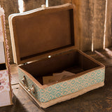 Vintage Inspired Wood Case with Hinged Lid Sea Blue - Marry Me Wedding Accessories & Gifts - 1