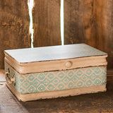 Vintage Inspired Wood Case with Hinged Lid Sea Blue - Marry Me Wedding Accessories & Gifts - 3