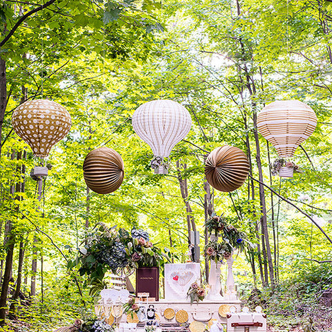 Hot Air Balloon Paper Lantern Set in Gold and White Vintage Gold - Marry Me Wedding Accessories & Gifts - 1