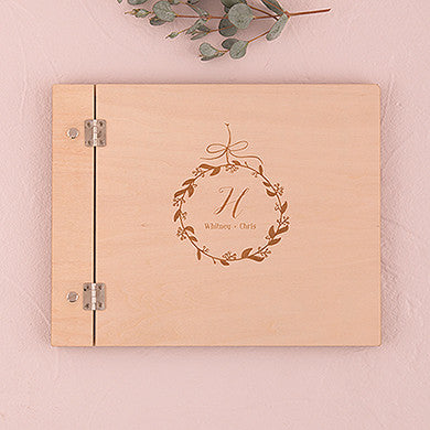 Wooden Wedding Guest Book - Botanical Wreath Etching - Marry Me Wedding Accessories & Gifts