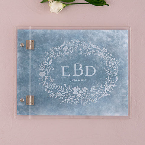 Clear Acrylic Wedding Guest Book - Modern Fairy Tale Etching - Marry Me Wedding Accessories & Gifts