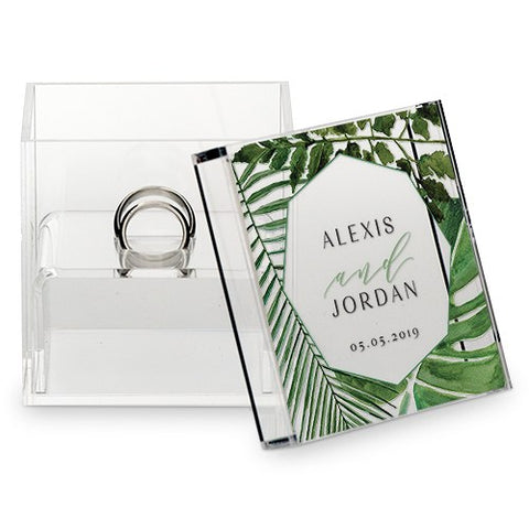 Acrylic Wedding Ring Box - Greenery Printing - Marry Me Wedding Accessories & Gifts