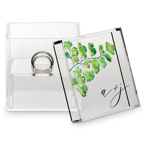 Acrylic Wedding Ring Box - Maidenhair Fern Greenery Printing - Marry Me Wedding Accessories & Gifts