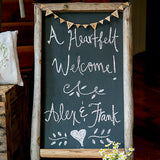Self Standing Chalkboard Sign with Rustic Wood Frame - Marry Me Wedding Accessories & Gifts