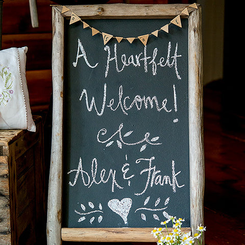 Self Standing Chalkboard Sign with Rustic Wood Frame - Marry Me Wedding Accessories & Gifts - 1