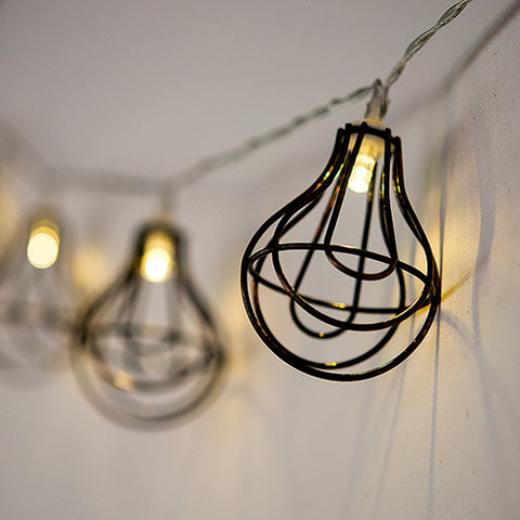 String of Lights with Light Bulb Wire Cage - Battery LED - Marry Me Wedding Accessories & Gifts - 1