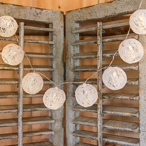 String of Lights with Round White Lace Lanterns - Battery LED - Marry Me Wedding Accessories & Gifts - 1