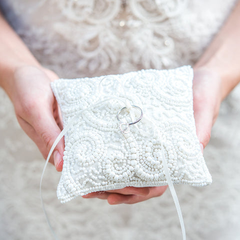 White Beaded Miniature Wedding Ring Pillow - Marry Me Wedding Accessories & Gifts
