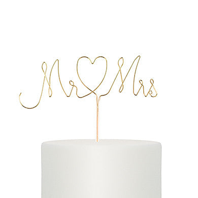 Mr. & Mrs. Twisted Wire Cake Topper Gold or Silver - Marry Me Wedding Accessories & Gifts - 1