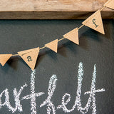 Mini Kraft Paper Pennant Garland Chocolate Brown - Marry Me Wedding Accessories & Gifts - 1